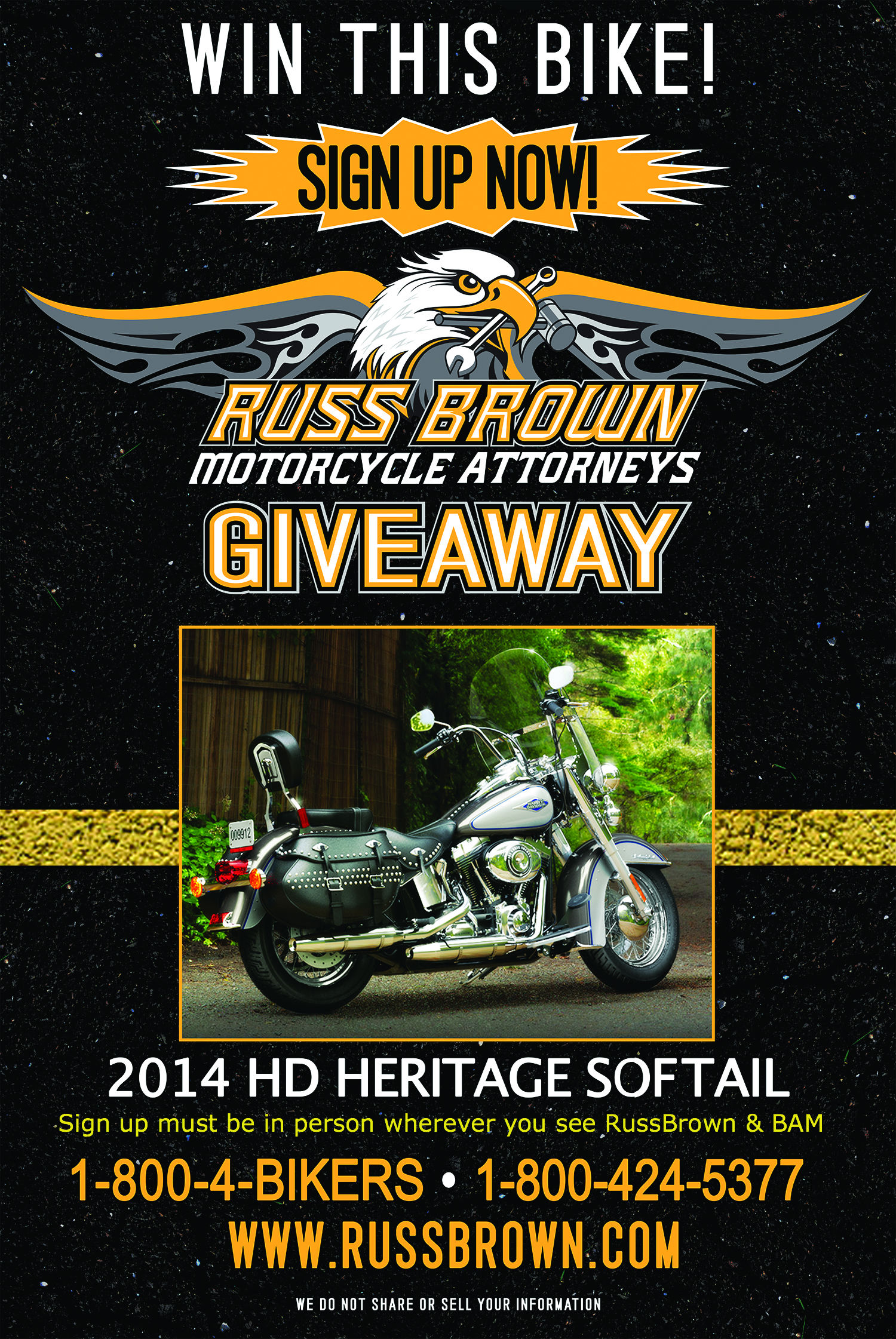 russ brown harley davidson motorcycle giveaway 2014